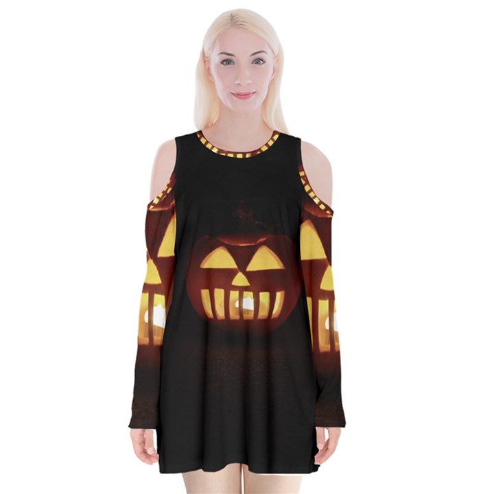 Funny Spooky Scary Halloween Pumpkin Jack O Lantern Velvet Long Sleeve Shoulder Cutout Dress