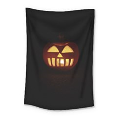 Funny Spooky Scary Halloween Pumpkin Jack O Lantern Small Tapestry