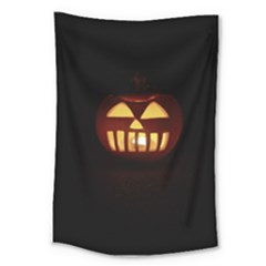Funny Spooky Scary Halloween Pumpkin Jack O Lantern Large Tapestry