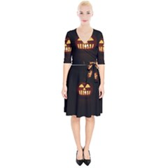 Funny Spooky Scary Halloween Pumpkin Jack O Lantern Wrap Up Cocktail Dress