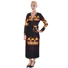 Funny Spooky Scary Halloween Pumpkin Jack O Lantern Velvet Maxi Wrap Dress