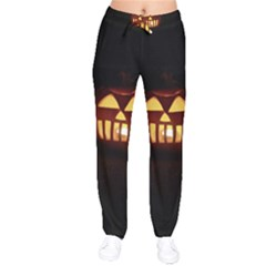 Funny Spooky Scary Halloween Pumpkin Jack O Lantern Velvet Drawstring Pants by HalloweenParty