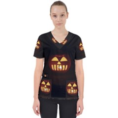 Funny Spooky Scary Halloween Pumpkin Jack O Lantern Women s V Neck Scrub Top