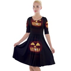 Funny Spooky Scary Halloween Pumpkin Jack O Lantern Quarter Sleeve A Line Dress