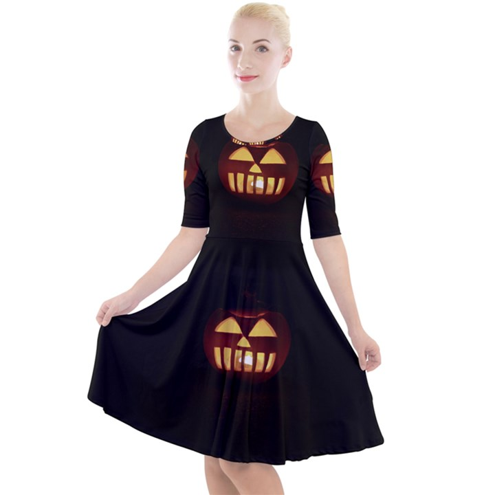 Funny Spooky Scary Halloween Pumpkin Jack O Lantern Quarter Sleeve A-Line Dress