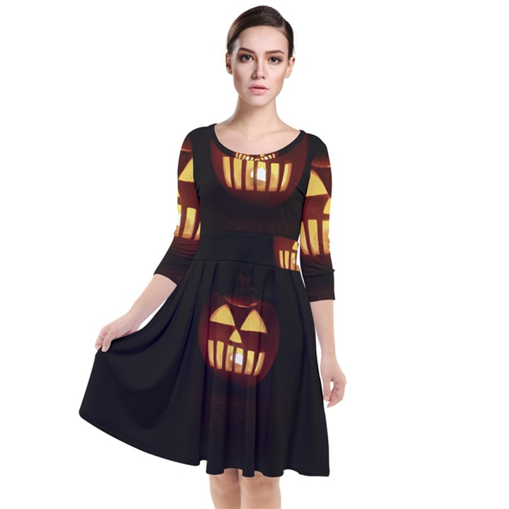 Funny Spooky Scary Halloween Pumpkin Jack O Lantern Quarter Sleeve Waist Band Dress
