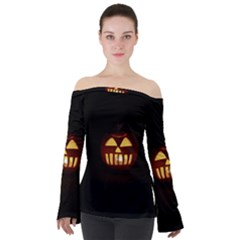 Funny Spooky Scary Halloween Pumpkin Jack O Lantern Off Shoulder Long Sleeve Top