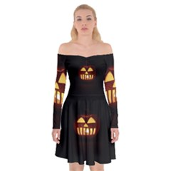 Funny Spooky Scary Halloween Pumpkin Jack O Lantern Off Shoulder Skater Dress