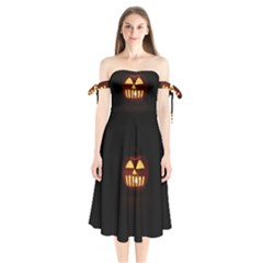 Funny Spooky Scary Halloween Pumpkin Jack O Lantern Shoulder Tie Bardot Midi Dress