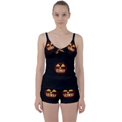 Funny Spooky Scary Halloween Pumpkin Jack O Lantern Tie Front Two Piece Tankini by HalloweenParty