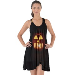 Funny Spooky Scary Halloween Pumpkin Jack O Lantern Show Some Back Chiffon Dress