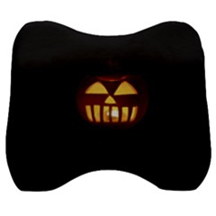 Funny Spooky Scary Halloween Pumpkin Jack O Lantern Velour Head Support Cushion by HalloweenParty