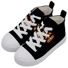 Funny Spooky Scary Halloween Pumpkin Jack O Lantern Kid s Mid-Top Canvas Sneakers