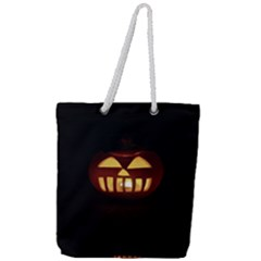 Funny Spooky Scary Halloween Pumpkin Jack O Lantern Full Print Rope Handle Tote (Large)