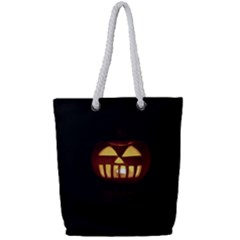 Funny Spooky Scary Halloween Pumpkin Jack O Lantern Full Print Rope Handle Tote (Small)
