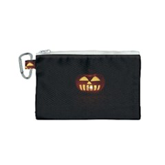 Funny Spooky Scary Halloween Pumpkin Jack O Lantern Canvas Cosmetic Bag (Small)