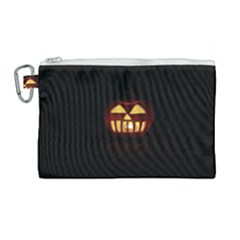 Funny Spooky Scary Halloween Pumpkin Jack O Lantern Canvas Cosmetic Bag (large)