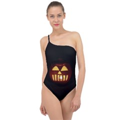 Funny Spooky Scary Halloween Pumpkin Jack O Lantern Classic One Shoulder Swimsuit