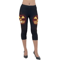 Funny Spooky Scary Halloween Pumpkin Jack O Lantern Lightweight Velour Capri Leggings