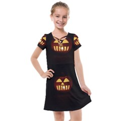 Funny Spooky Scary Halloween Pumpkin Jack O Lantern Kids  Cross Web Dress