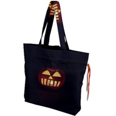 Funny Spooky Scary Halloween Pumpkin Jack O Lantern Drawstring Tote Bag