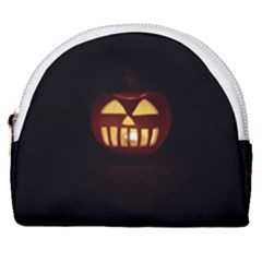 Funny Spooky Scary Halloween Pumpkin Jack O Lantern Horseshoe Style Canvas Pouch
