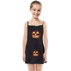 Funny Spooky Scary Halloween Pumpkin Jack O Lantern Kids Summer Sun Dress