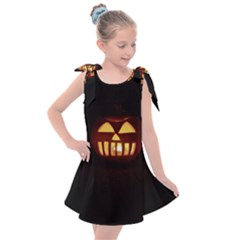 Funny Spooky Scary Halloween Pumpkin Jack O Lantern Kids  Tie Up Tunic Dress