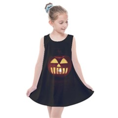 Funny Spooky Scary Halloween Pumpkin Jack O Lantern Kids  Summer Dress