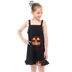 Funny Spooky Scary Halloween Pumpkin Jack O Lantern Kids  Overall Dress