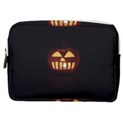 Funny Spooky Scary Halloween Pumpkin Jack O Lantern Make Up Pouch (Medium)