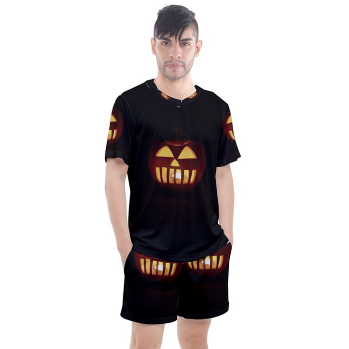 Funny Spooky Scary Halloween Pumpkin Jack O Lantern Men s Mesh Tee and Shorts Set