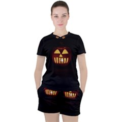 Funny Spooky Scary Halloween Pumpkin Jack O Lantern Women s Tee and Shorts Set