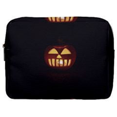 Funny Spooky Scary Halloween Pumpkin Jack O Lantern Make Up Pouch (Large)