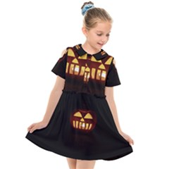 Funny Spooky Scary Halloween Pumpkin Jack O Lantern Kids  Short Sleeve Shirt Dress