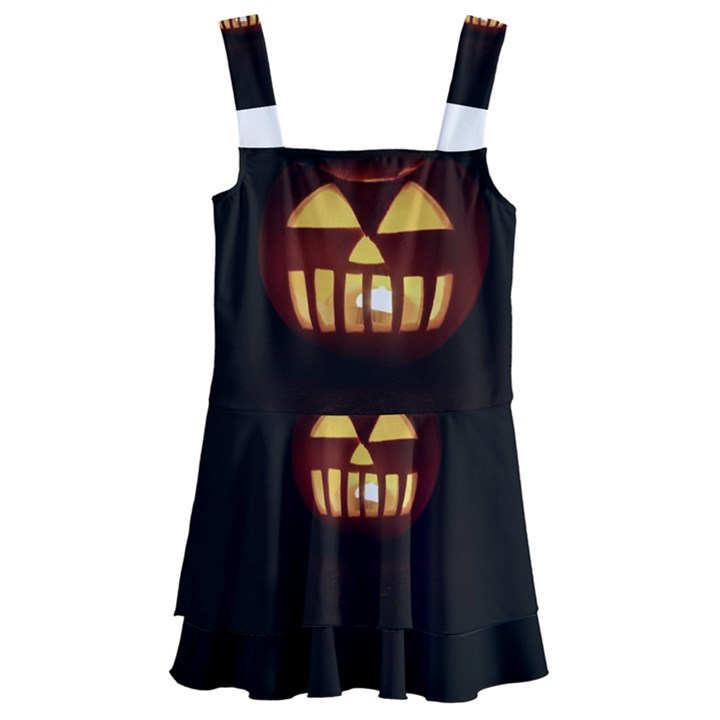 Funny Spooky Scary Halloween Pumpkin Jack O Lantern Kids  Layered Skirt Swimsuit