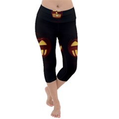 Funny Spooky Scary Halloween Pumpkin Jack O Lantern Lightweight Velour Capri Yoga Leggings