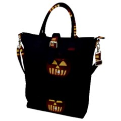 Funny Spooky Scary Halloween Pumpkin Jack O Lantern Buckle Top Tote Bag