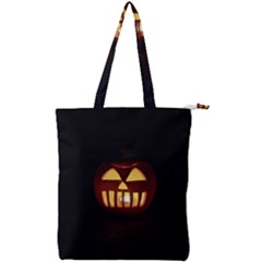 Funny Spooky Scary Halloween Pumpkin Jack O Lantern Double Zip Up Tote Bag