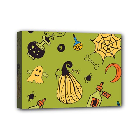 Funny Scary Spooky Halloween Party Design Mini Canvas 7  X 5  (stretched)