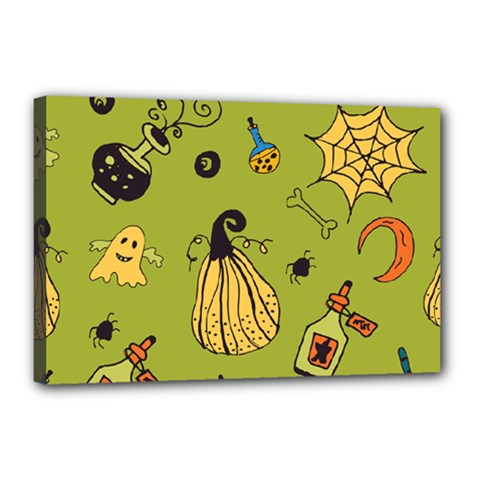 Funny Scary Spooky Halloween Party Design Canvas 18  X 12  (stretched)