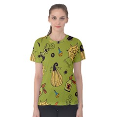 Funny Scary Spooky Halloween Party Design Women s Cotton Tee