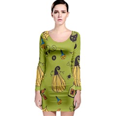 Funny Scary Spooky Halloween Party Design Long Sleeve Bodycon Dress