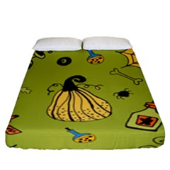 Funny Scary Spooky Halloween Party Design Fitted Sheet (king Size)