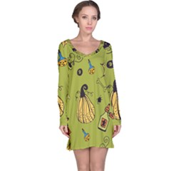 Funny Scary Spooky Halloween Party Design Long Sleeve Nightdress