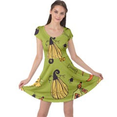 Funny Scary Spooky Halloween Party Design Cap Sleeve Dress