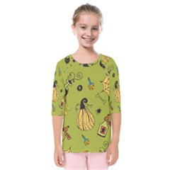 Funny Scary Spooky Halloween Party Design Kids  Quarter Sleeve Raglan Tee
