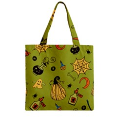 Funny Scary Spooky Halloween Party Design Zipper Grocery Tote Bag