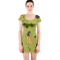 Funny Scary Spooky Halloween Party Design Short Sleeve Bodycon Dress by HalloweenParty