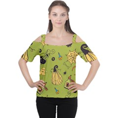 Funny Scary Spooky Halloween Party Design Cutout Shoulder Tee
